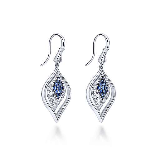 925 Sterling Silver Vintage Inspired Openwork Sapphire Drop Earrings