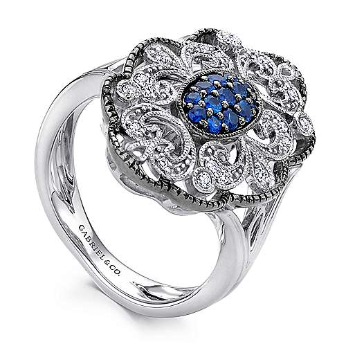 925 Sterling Silver Vintage Inspired Oval Blue and White Sapphire Ring