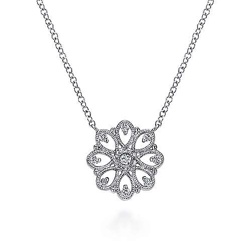 Gabriel - 925 Sterling Silver Vintage Inspired Round White Sapphire Fashion Necklace