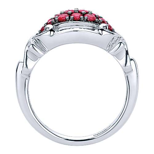 925 Sterling Silver Vintage Inspired Ruby Fashion Ring