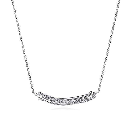 925 Sterling Silver White Sapphire Bar Pendant Necklace