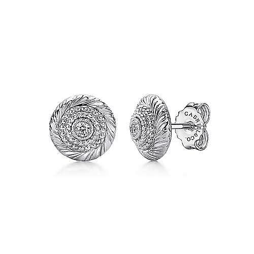 925 Sterling Silver White Sapphire Bullseye Stud Earrings