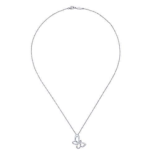 925 Sterling Silver White Sapphire Butterfly Pendant Necklace