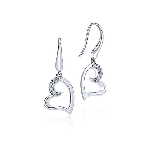 Gabriel - 925 Sterling Silver White Sapphire Curving Open Heart Drop Earrings