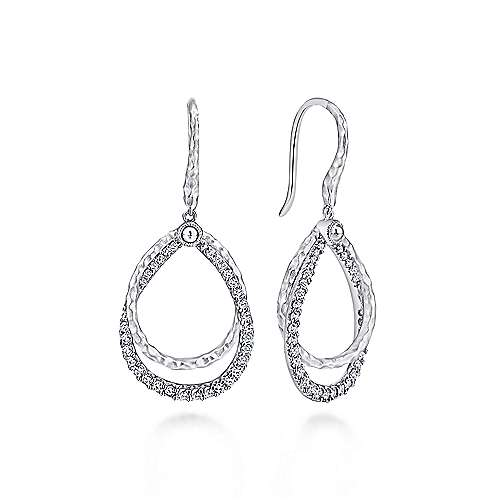 Gabriel - 925 Sterling Silver White Sapphire Drop Earrings