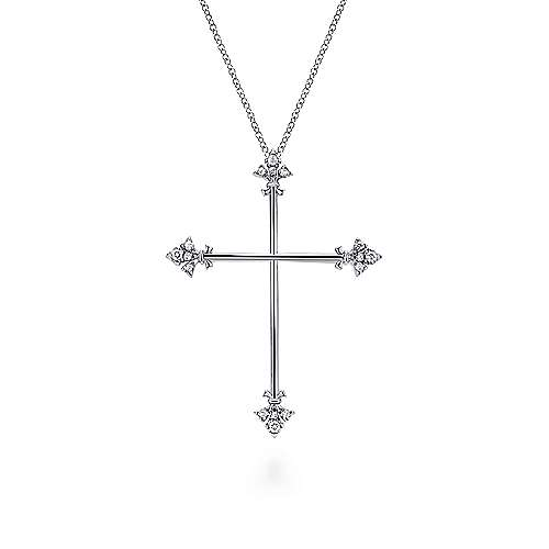 925 Sterling Silver White Sapphire Finial Cross Pendant Necklace