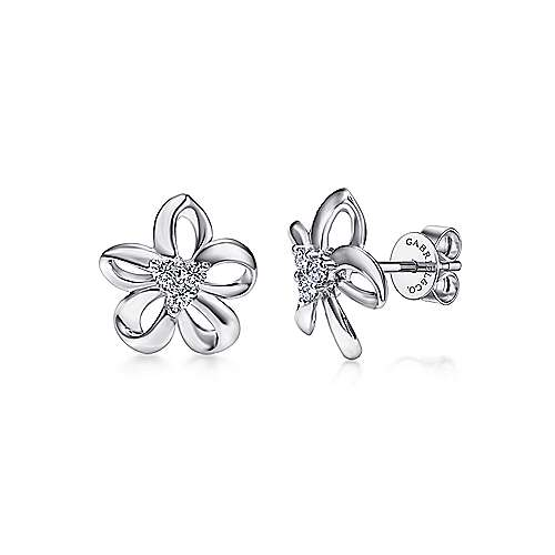 925 Sterling Silver White Sapphire Floral Stud Earrings