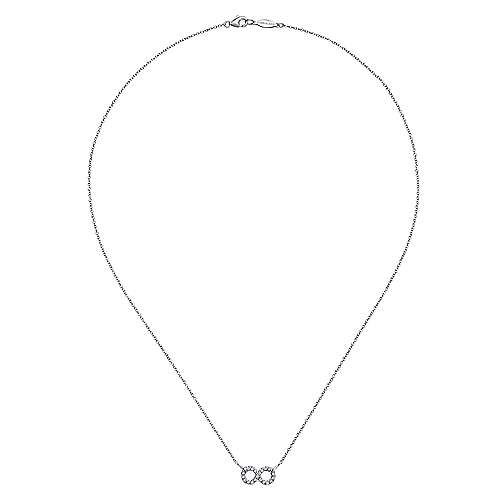 925 Sterling Silver White Sapphire Infinity Symbol Fashion Necklace