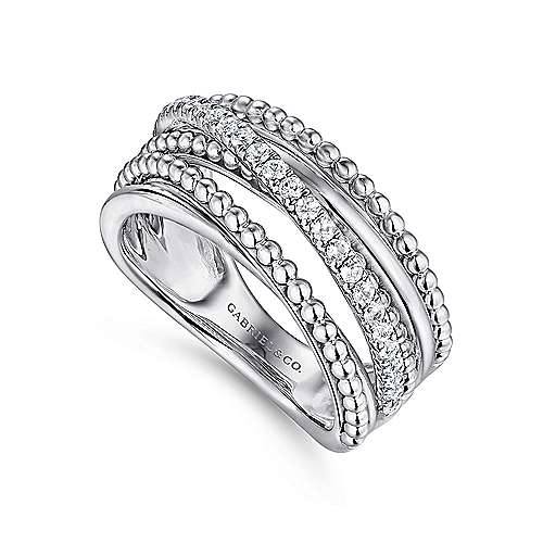 925 Sterling Silver White Sapphire Layered Beaded Wide Band Ring