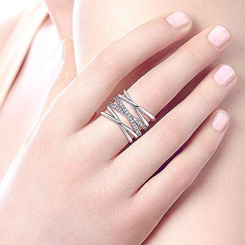 925 Sterling Silver White Sapphire Layered Wide Band Fashion Ring