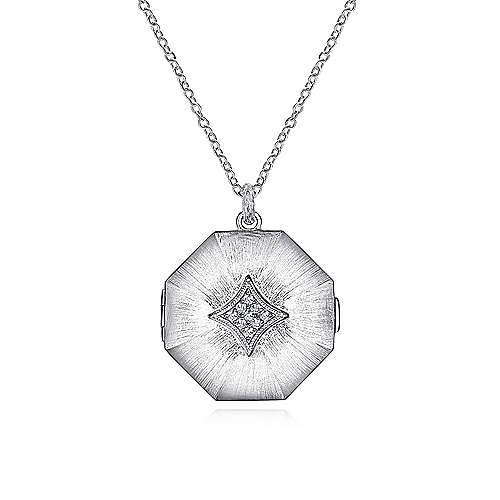 Gabriel - 925 Sterling Silver White Sapphire Octagonal Locket Necklace