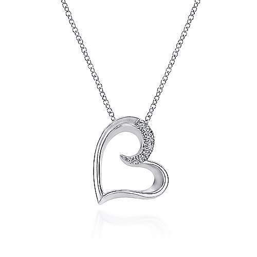925 Sterling Silver White Sapphire Open Heart Necklace