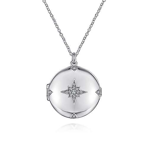 Gabriel - 925 Sterling Silver White Sapphire Starburst Round Locket Necklace