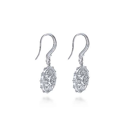 925 Sterling Silver White Sapphire Vintage Inspired Floral Drop Earrings