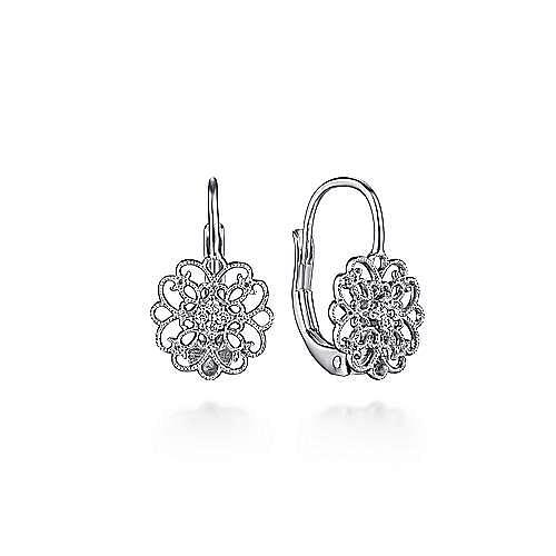 925 Sterling Silver White Sapphire Vintage Inspired Openwork Drop Earrings