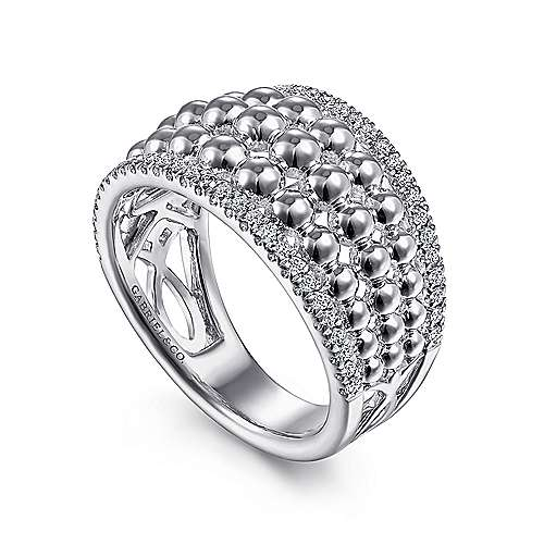 925 Sterling Silver White Sapphire Wide Bujukan Ring