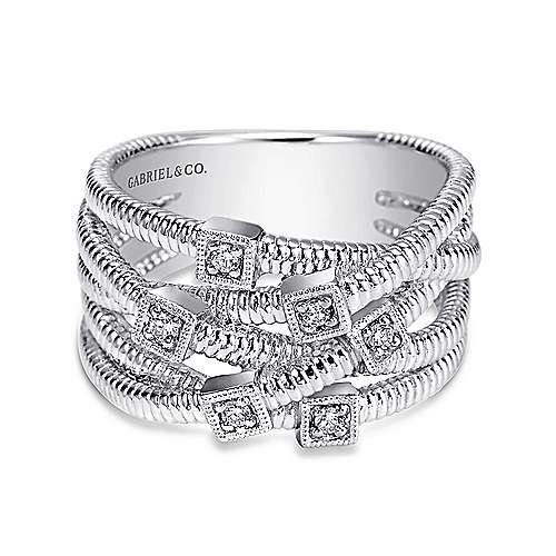 925 Sterling Silver Wide Band Criss Cross Diamond Station Ring
