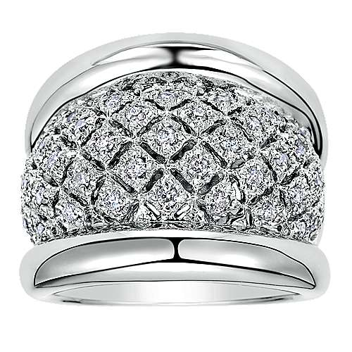 925 Sterling Silver Wide Band Ring with Open Work Diamond Center