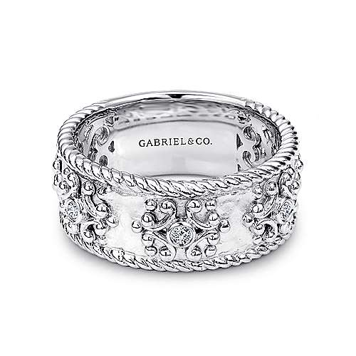 925 Sterling Silver Wide Band Ring with Twisted Rope and Diamond Accents