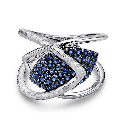 925 Sterling Silver Wide Band Sapphire Cluster Ring