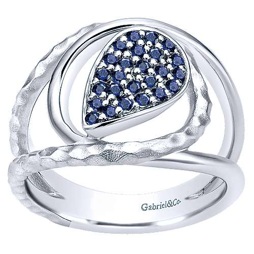925 Sterling Silver Wide Band Teardrop Sapphire Cluster Ring