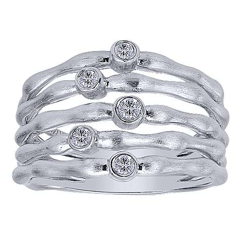 925 Sterling Silver Wide Band White Sapphire Fashion Ring