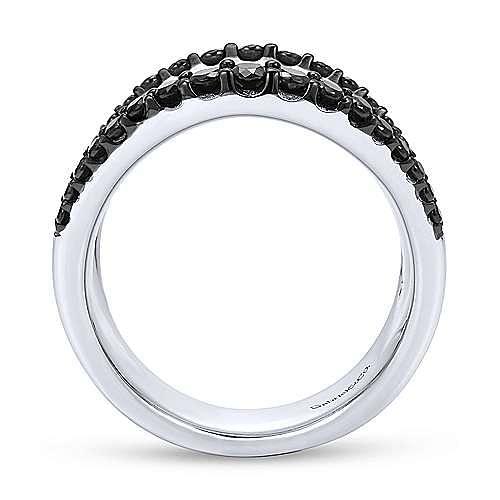 925 Sterling Silver Wide Hammered Black Spinel Trim Ring
