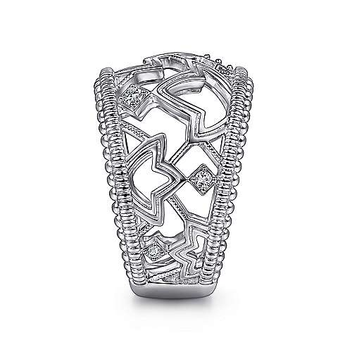 925 Sterling Silver Wide Openwork White Sapphire Ring