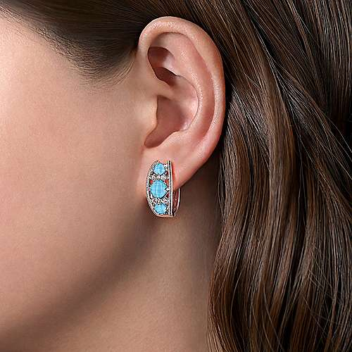 925 Sterling Silver Wide Rock Crystal/Turquoise/White Sapphire Huggies