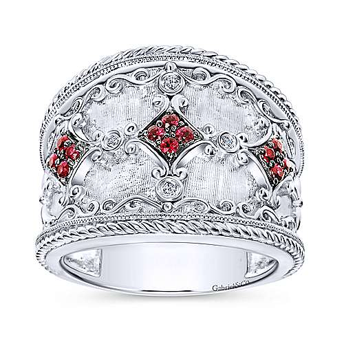 925 Sterling Silver Wide Ruby and Diamond Ring with Filigree Accents