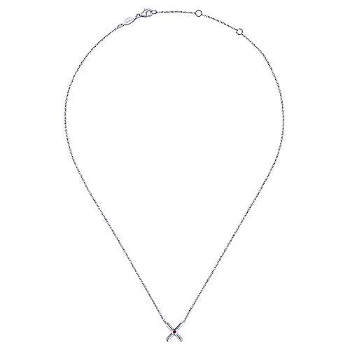 925 Sterling Silver X Necklace with Ruby Stone Center