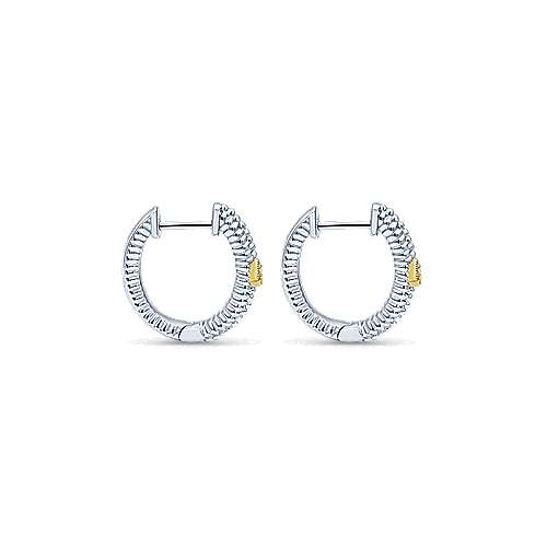 925 Sterling Silver and 18K Yellow Gold 10mm Round Classic Diamond Huggie Earrings