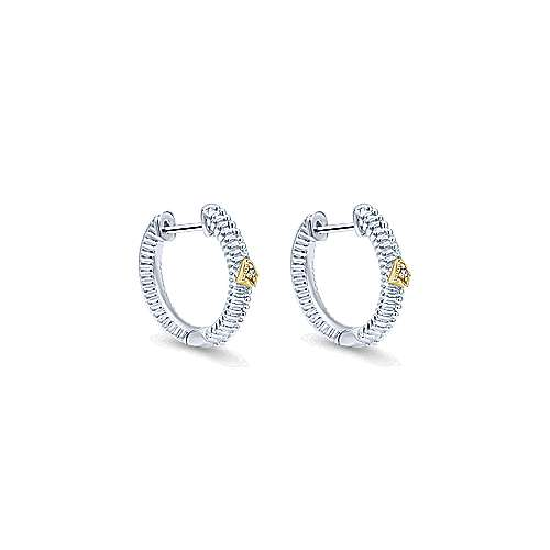 925 Sterling Silver and 18K Yellow Gold 10mm Round Classic Diamond Huggies
