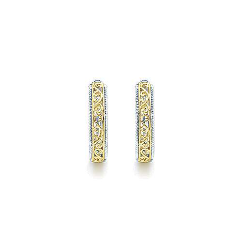 925 Sterling Silver and 18K Yellow Gold 30mm Round Classic Diamond Hoop Earrings