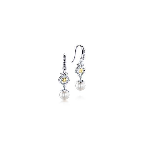925 Sterling Silver and 18K Yellow Gold Cultured Pearl Drop Earrings