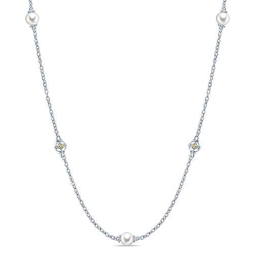 925 Sterling Silver and 18K Yellow Gold Cultured Pearl and Filigree Station Necklace