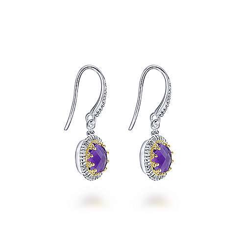 925 Sterling Silver and 18K Yellow Gold Oval Amethyst Drop Earrings
