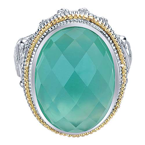 925 Sterling Silver and 18K Yellow Gold Oval Rock Crystal/Green Onyx Ring
