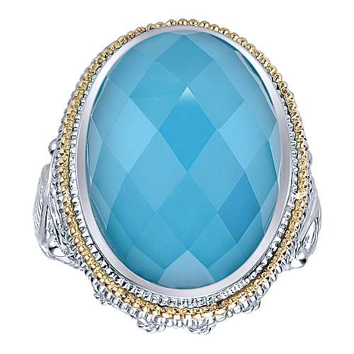 925 Sterling Silver and 18K Yellow Gold Oval Rock Crystal/Turquoise Ring
