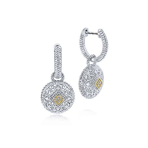 925 Sterling Silver and 18K Yellow Gold Vintage Inspired Round Diamond Drop Earrings