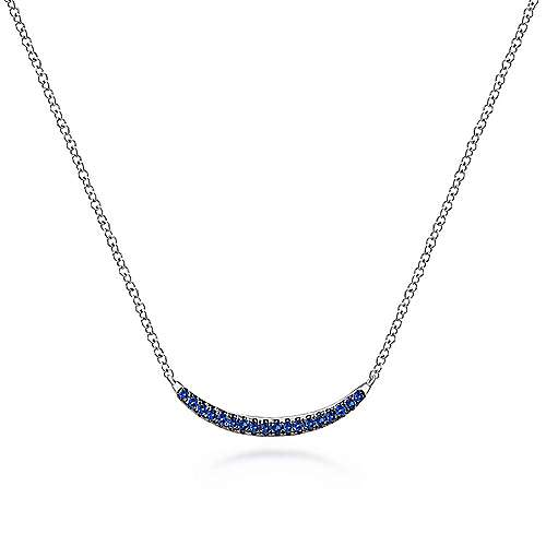 925 Sterling Silver and Sapphire Curved Bar Necklace