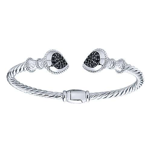 925 Sterling Silver and Stainless Steel Black Spinel Pavé Open Bangle