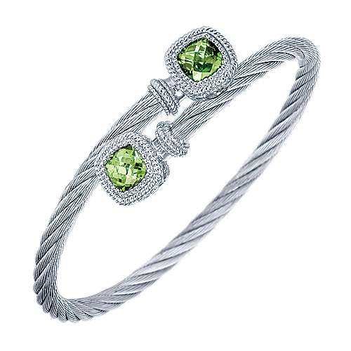 925 Sterling Silver and Stainless Steel Cable Bangle with Peridot Accents