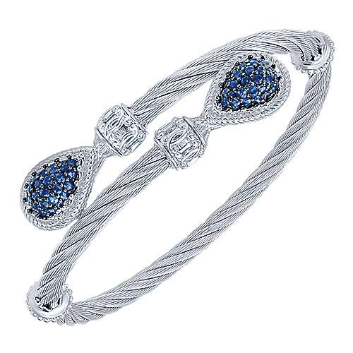 925 Sterling Silver and Stainless Steel Twisted Cable Sapphire Bypass Bangle