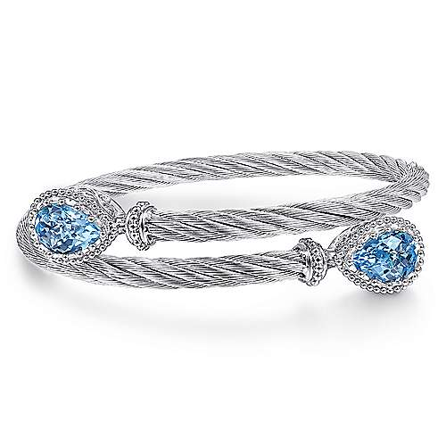 925 Sterling Silver and Stainless Steel Twisted Cable Sky Blue Topaz Bypass Bangle