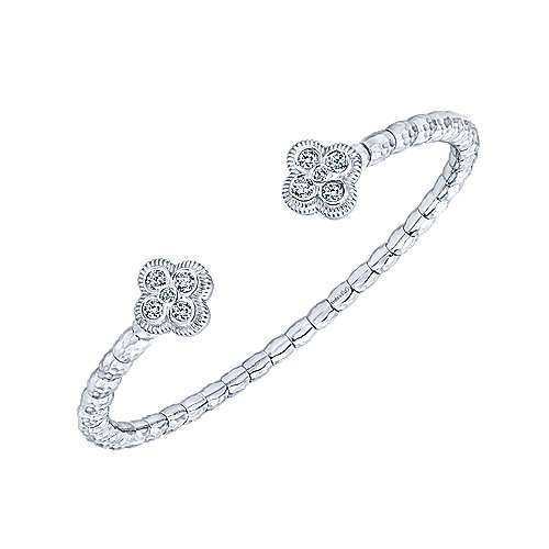 925 Sterling Silver and Stainless Steel White Sapphire Quatrefoil Bangle
