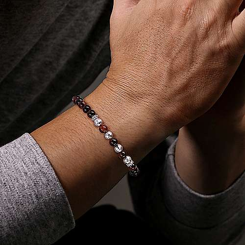925 Sterling Silver and Tiger Eye Beaded Bracelet