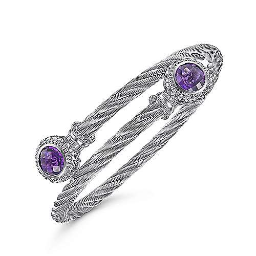 925 Sterling Silver and Twisted Cable Stainless Steel Amethyst Stone Bypass Bangle