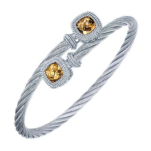 925 Sterling Silver and Twisted Cable Stainless Steel Citrine Stone Bypass Bangle