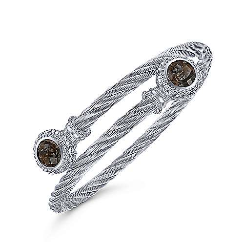 925 Sterling Silver and Twisted Cable Stainless Steel Smoky Quartz Stone Bypass Bangle